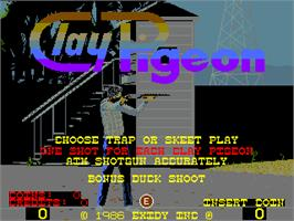 Title screen of Clay Pigeon on the Arcade.