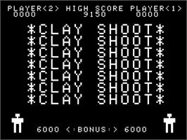 Title screen of Clay Shoot on the Arcade.