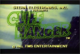 Title screen of Cliff Hanger on the Arcade.
