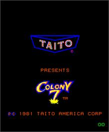 Title screen of Colony 7 on the Arcade.