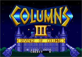 Title screen of Columns III on the Arcade.
