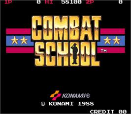 Title screen of Combat School on the Arcade.