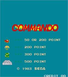 Title screen of Commando on the Arcade.