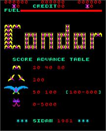 Title screen of Condor on the Arcade.