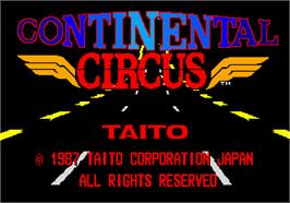 Title screen of Continental Circus on the Arcade.