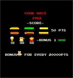 Title screen of Cook Race on the Arcade.