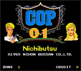 Title screen of Cop 01 on the Arcade.