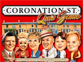 Title screen of Coronation Street Quiz Game on the Arcade.