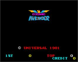 Title screen of Cosmic Avenger on the Arcade.
