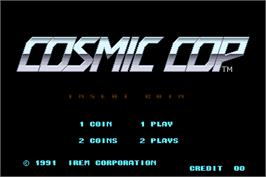 Title screen of Cosmic Cop on the Arcade.