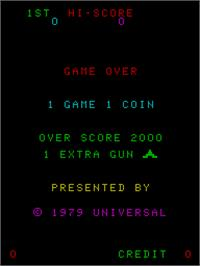 Title screen of Cosmic Guerilla on the Arcade.