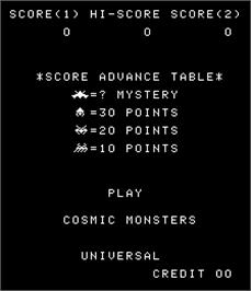 Title screen of Cosmic Monsters on the Arcade.
