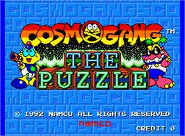 Title screen of Cosmo Gang the Puzzle on the Arcade.