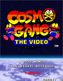 Title screen of Cosmo Gang the Video on the Arcade.