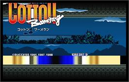 Title screen of Cotton Boomerang on the Arcade.