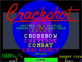 Title screen of Crackshot on the Arcade.