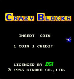 Title screen of Crazy Blocks on the Arcade.