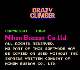 Title screen of Crazy Climber on the Arcade.