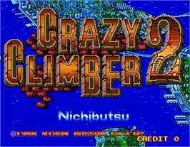 Title screen of Crazy Climber 2 on the Arcade.