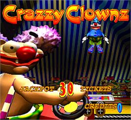 Title screen of Crazzy Clownz on the Arcade.