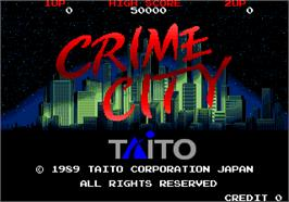 Title screen of Crime City on the Arcade.