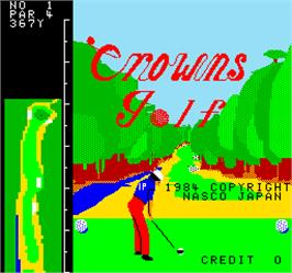 Title screen of Crowns Golf on the Arcade.