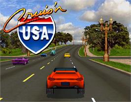 Title screen of Cruis'n USA on the Arcade.