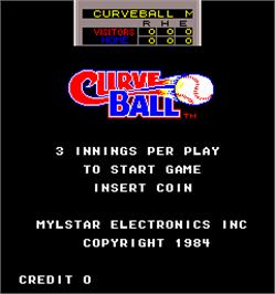 Title screen of Curve Ball on the Arcade.