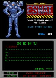 Title screen of Cyber Police ESWAT: Enhanced Special Weapons and Tactics on the Arcade.