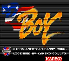 Title screen of DJ Boy on the Arcade.