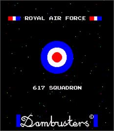 Title screen of Dambusters on the Arcade.