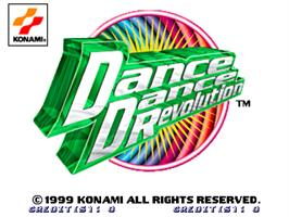 Title screen of Dance Dance Revolution on the Arcade.