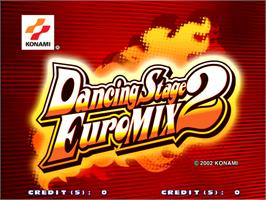 Title screen of Dancing Stage Euro Mix 2 on the Arcade.