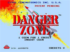 Title screen of Danger Zone on the Arcade.