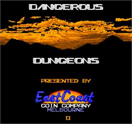 Title screen of Dangerous Dungeons on the Arcade.
