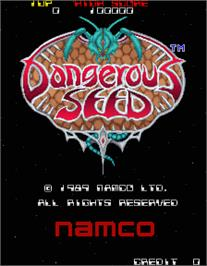 Title screen of Dangerous Seed on the Arcade.