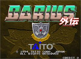 Title screen of Darius Gaiden - Silver Hawk on the Arcade.