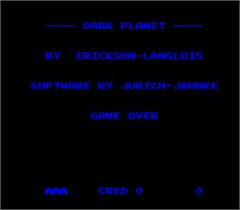 Title screen of Dark Planet on the Arcade.