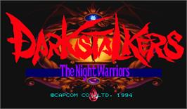 Title screen of Darkstalkers: The Night Warriors on the Arcade.