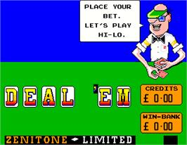 Title screen of Deal 'Em on the Arcade.