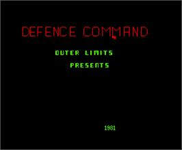 Title screen of Defence Command on the Arcade.