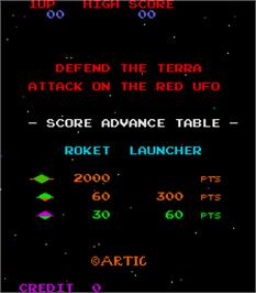 Title screen of Defend the Terra Attack on the Red UFO on the Arcade.