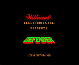 Title screen of Defender on the Arcade.