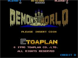 Title screen of Demon's World / Horror Story on the Arcade.