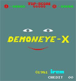 Title screen of Demoneye-X on the Arcade.
