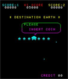 Title screen of Destination Earth on the Arcade.
