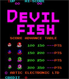 Title screen of Devil Fish on the Arcade.
