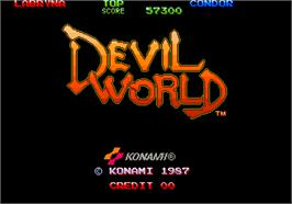 Title screen of Devil World on the Arcade.