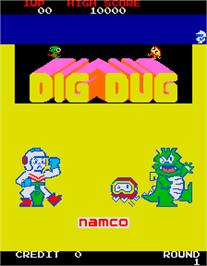 Title screen of Dig Dug on the Arcade.