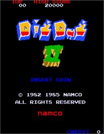 Title screen of Dig Dug II on the Arcade.